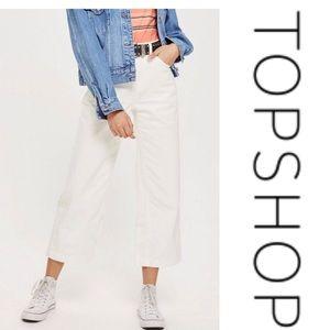 TOPSHOP Moto White Wide Leg Crop Jeans